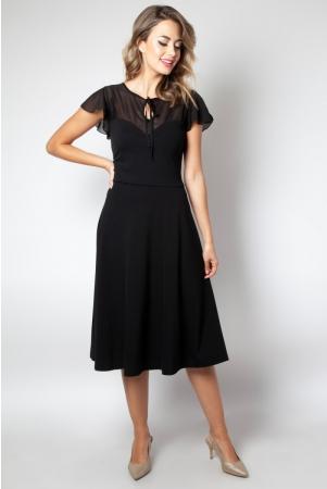 Victoria Black Flutter Sleeve Dress