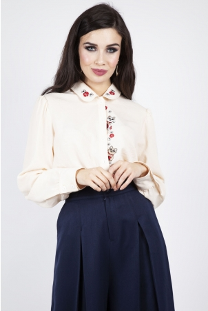 Alicia Lucky Cat Chiffon Shirt