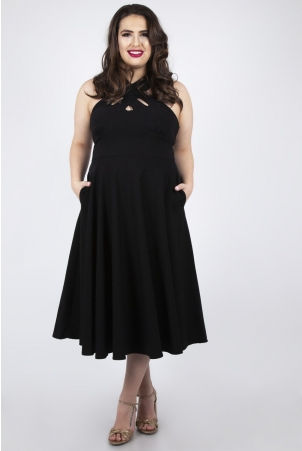 Vixen Curve Ava Black Cross Neck Circle Dress