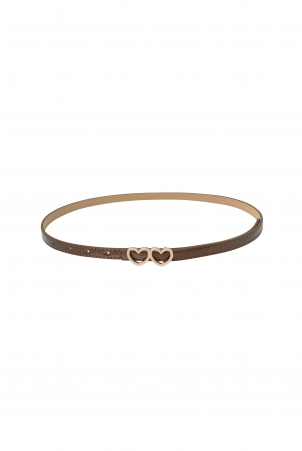 Bronze Patent Heart Buckle Belt
