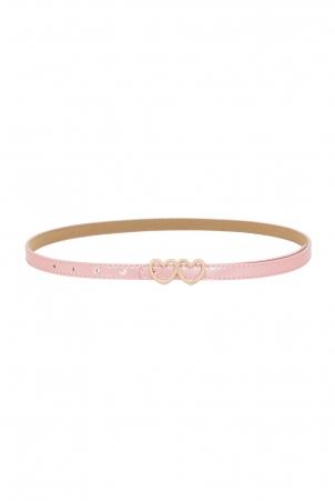 Pink Patent Heart Buckle Belt