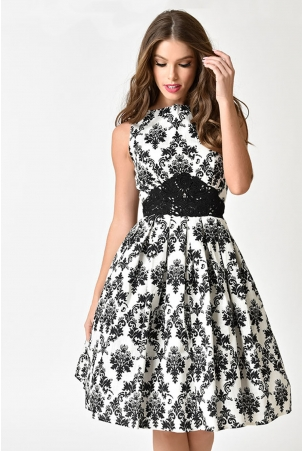 Bella White & Black Damask Swing Dress by Unique Vintage