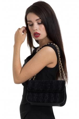 Velvet Evening Bag With Mirror Black
