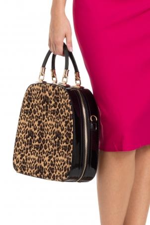 Structured Leopard Handbag