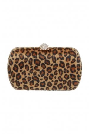 Lila Leopard Clutch Bag
