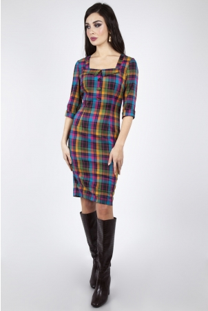 Camilla Plaid Pencil Dress