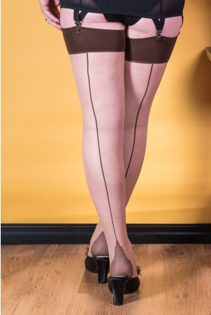 Seamed Stockings Contrast Coffee by What Katie Did