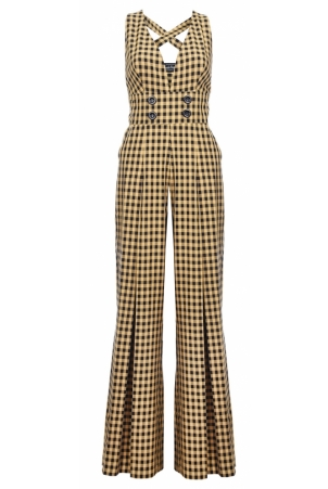 Ciara Wide Leg 70s Gingham Jumpsuit
