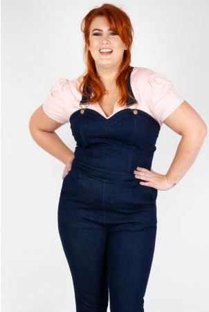 Connie Fitted Capri Overalls Denim Plus Size