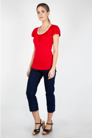 Debbie Daisy Top Red-Red-S