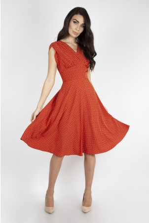 Delia Polka Dot Dress in Copper