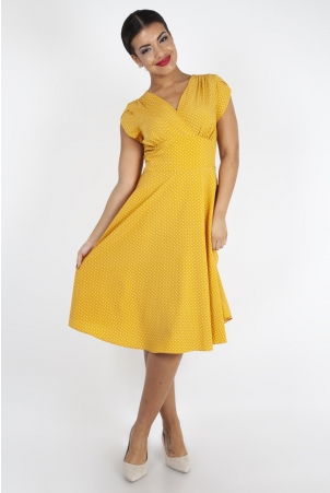 Delia Polka Dot Dress in Mustard