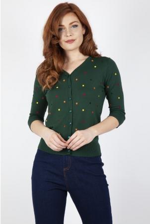 Diana Polka Dot Cardigan in Green