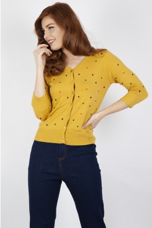 Diana Polka Dot Cardigan in Mustard