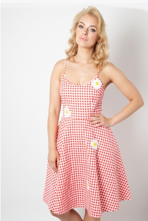 Dolly Gingham Flared Dress