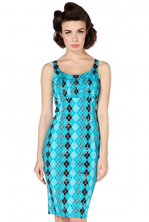 Aurelia Blue Rhombus Print Dress