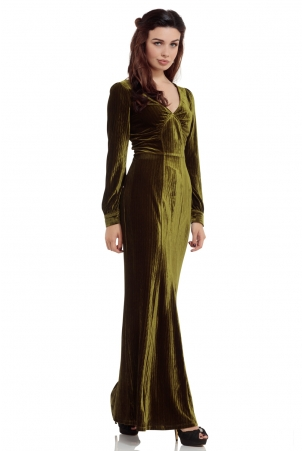 Olive 30s Green Evening Gown
