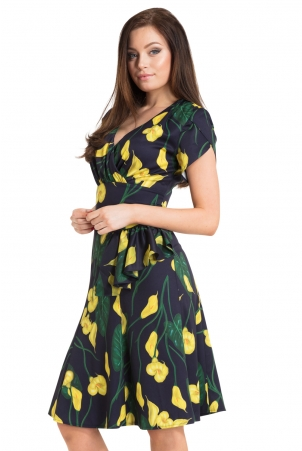 Flora Calla Lily 40s Style Dress