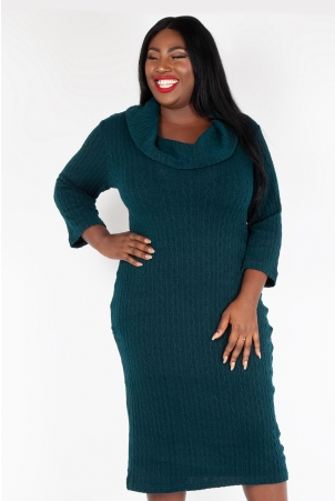 Vixen Curve Olivia Green Knit Fitted Dress