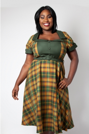 Ella Tartan Flared Plus Size Dress
