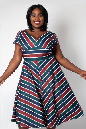 Addison Striped Swing Plus Size Dress