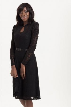 Dita Dress in Black Lace