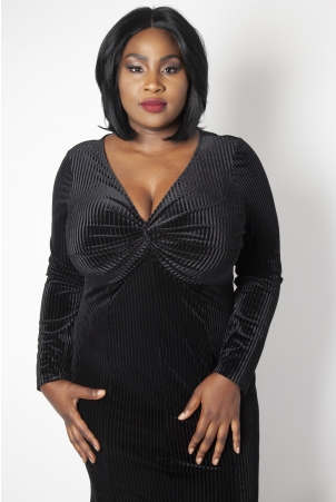 Morticia Black Plus Size Gown