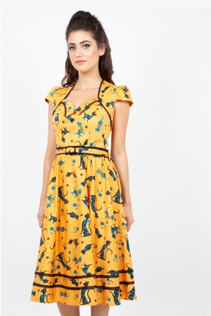 Savannah Mustard Cat Print Dress