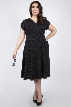 Vixen Curve Tabby Black Polka Dot Tea Dress