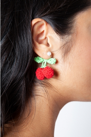 Crochet Cherry Earrings