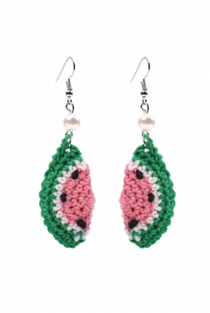 Pastel Watermelon Crochet Earrings