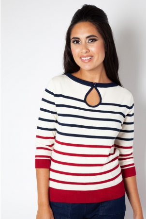 Emery Stripe Keyhole Sweater