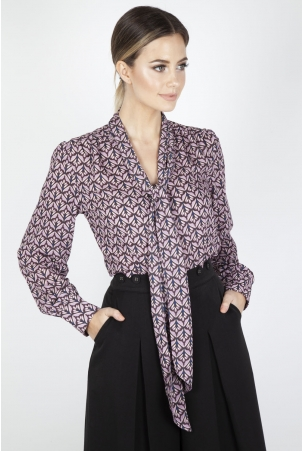 Gabby Purple Crepe Long Sleeve Bow Top