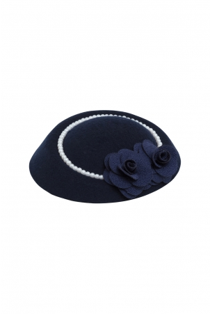 Elegant Navy Fascinator With Pearl Trim