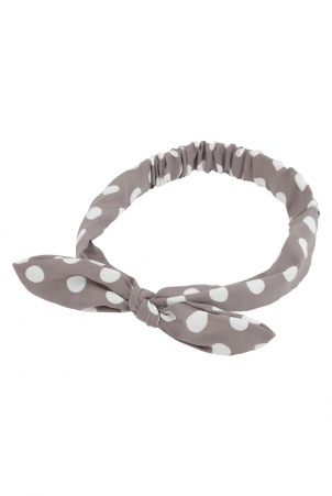 Polka Dot Bow Headband in Grey