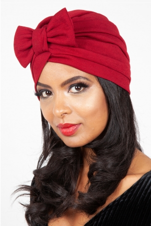 Elsie Burgundy Bow Turban