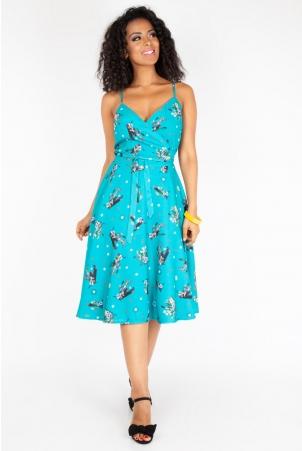 Iris Cactus Print Wrap Dress