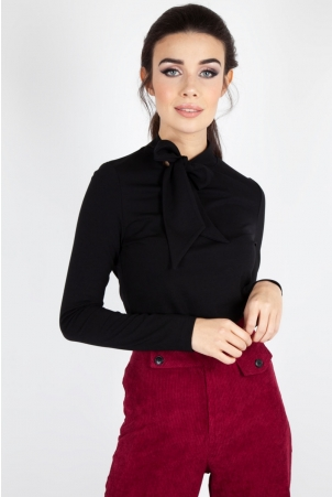 Josie Tie Neck Top in Black