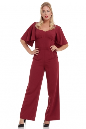 Zoey Deep Red Cape Jumpsuit