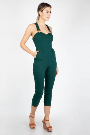 Connie Fitted Capri Overalls Green Plus Size
