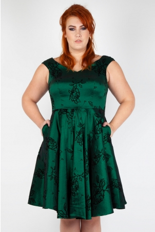 Lily Green Taffeta Flared Plus Size Dress