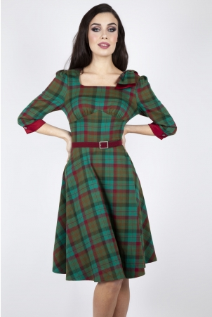Lisle Forest Tartan Flare Dress