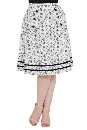 Barbara Flared Nautical Skirt
