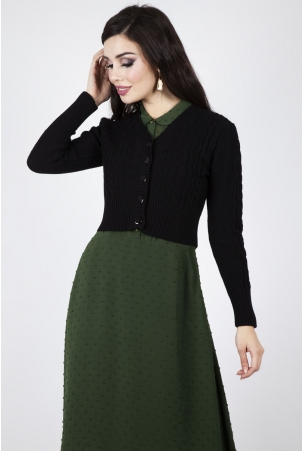 Mabel Cropped Cardigan in Black