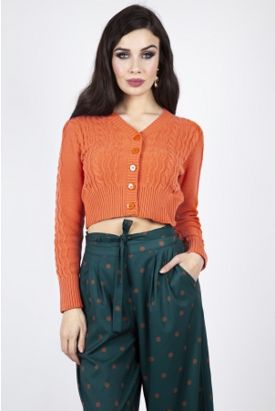 Mabel Cropped Cardigan in Orange