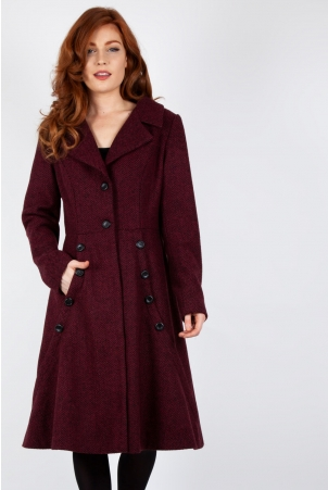 Macie Herringbone Coat in Burgundy