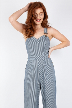 Margaret Stripe Wide Leg Overalls