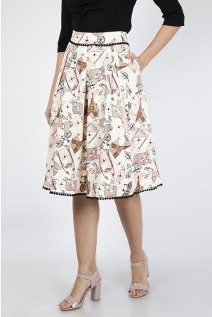 Marienne Parisian Print Skirt