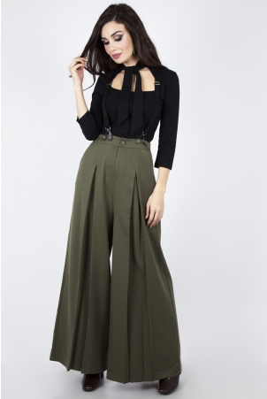 Martha 40s Wide Leg Suspender Trouser in Khaki