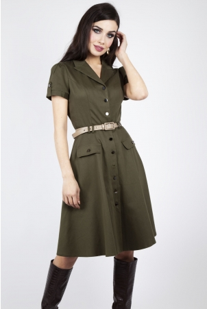 Vixen Curve Martha Button Down 40s Flare Dress